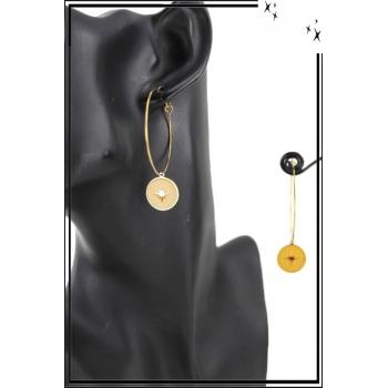 Boucle d'oreille - Forme ronde - Médaillon petite étoile - Jaune