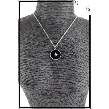 Collier - Médaille étoile - Noir