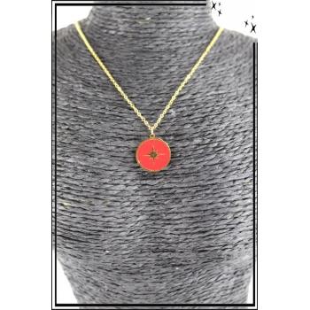 Collier - Médaille étoile - Rouge