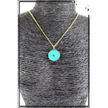 Collier - Médaille étoile - Turquoise