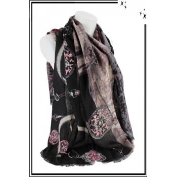 Foulard - Chaînette, étoiles et motifs flous - Noir