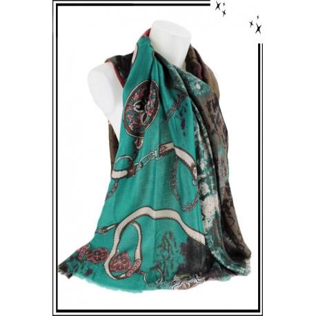 Foulard - Chaînette, étoiles et motifs flous - Turquoise
