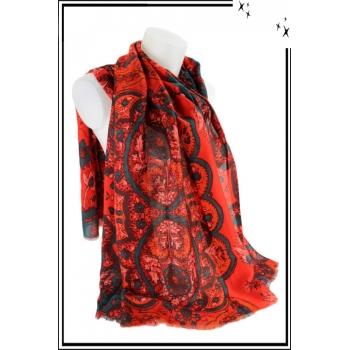 Foulard - Motif floral et touche de couleur - Corail
