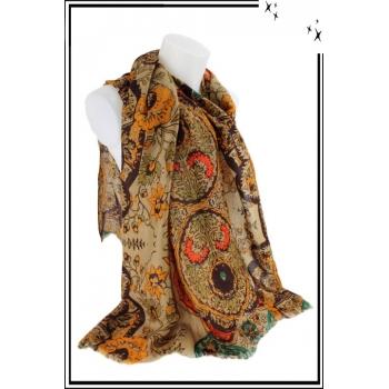 Foulard - Motif floral et touche de couleur - Taupe
