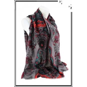 Foulard - Motif floral et touche de couleur - Gris
