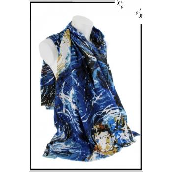 Foulard - Motif abstrait - Bleu marine