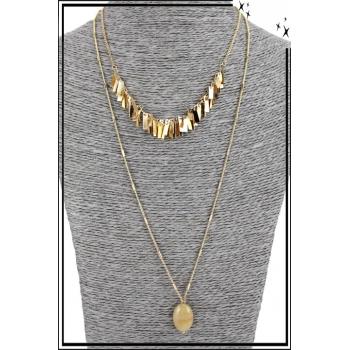 Collier multirang - 2 rangs - Franges dorées et pierre