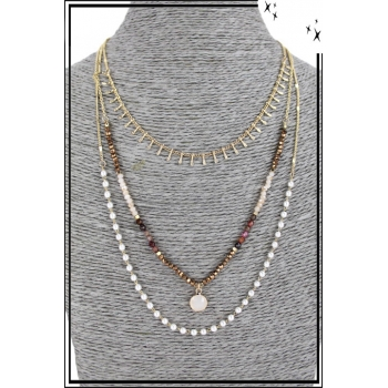 Collier multirang - 3 rangs - Petites franges, perles et pierre