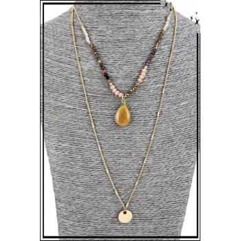 Collier multirang - 2 rangs - Perles, pierre et pendentif doré