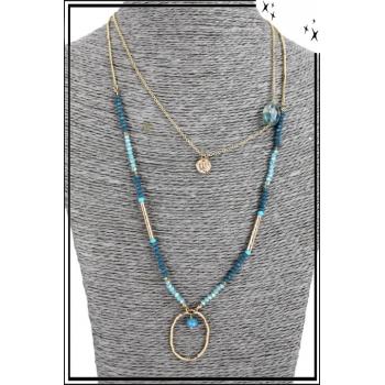 Collier multirang - 2 rangs - Perles, pierre, pendentif doré et anneau