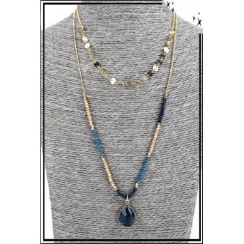 Collier multirang - 2 rangs - Perles, pierre bleue et piecettes dorées