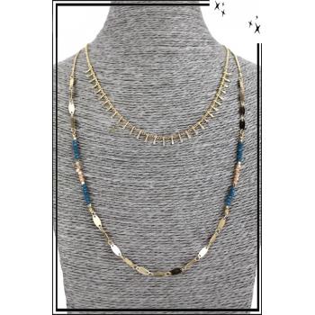 Collier multirang - 2 rangs - Petites franges, perles et petites plaques dorées
