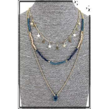 Collier multirang - 3 rangs - Etoiles, perles et pierre bleue