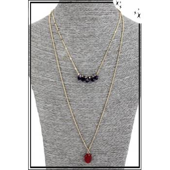 Collier multirang - 2 rangs - Petites pierres et pierre rouge
