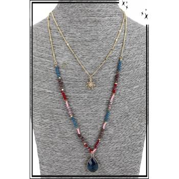 Collier multirang - 2 rangs - Petite fleur, perles et pierre bleue
