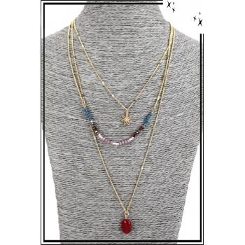 Collier multirang - 3 rangs - Petite fleur, perles et pierre rouge