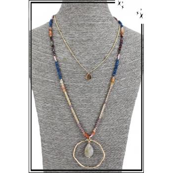 Collier multirang - 3 rangs - Pendentif doré, perles, pierre et anneau