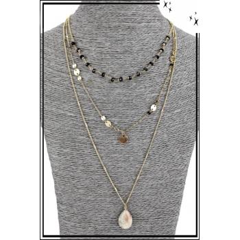 Collier multirang - 3 rangs - Perles noires, pendentif doré et pierre