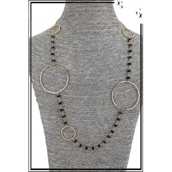 Collier sautoir - Grands anneaux et perles