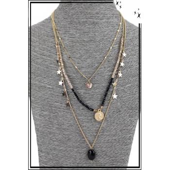 Collier multirang - 3 rangs - Etoiles, pendentifs, perles et pierre noire
