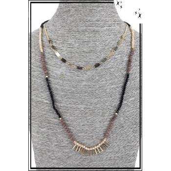 Collier multirang - 2 rangs - Pendentifs dorés, petites franges et perles