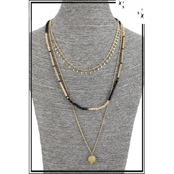 Collier multirang - 3 rangs - Petites franges, perles, pierre