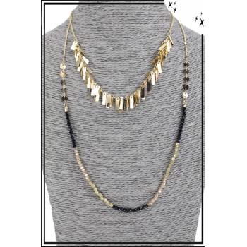 Collier multirang - 2 rangs - Franges dorées et perles