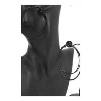 Boucle d'oreille - Créole - 3 anneaux - Noir