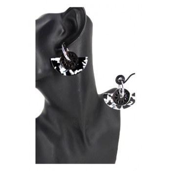 Boucle d'oreille en résine - Inspiration Aztèque - Noir et camaieu noir et blanc