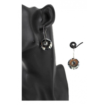 Boucle d'oreille en résine - Soleil - Camaieu noir et blanc