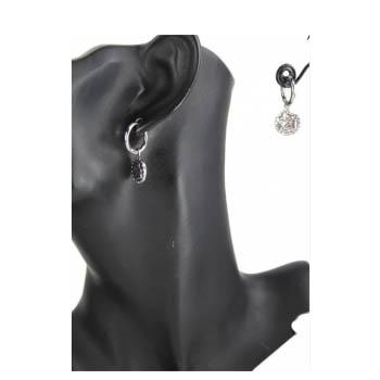 Boucle d'oreille - Médaille angelot - Argenté