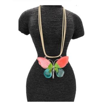 Collier - Résine - Papillon - Multicolor