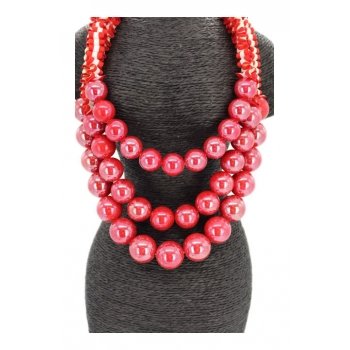 Collier - Multi-rangs - Perles nacrées - Rouge