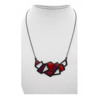 Collier - Motifs - Triangulaires - Rouge / Rose / Fushia