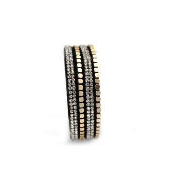 Bracelet - Double tour - Fermeture aimant - Noir / Gris