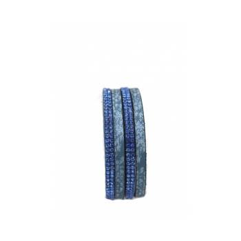 Bracelet - Double tour - Fermeture aimant - Serpent - Bleu