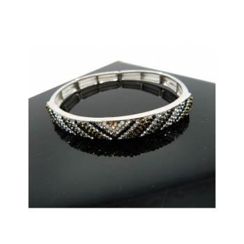 Bracelet - Elastique - Losanges - Diagonales - Couleurs métalisées