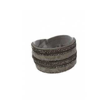 Bracelet manchette - Double tour - Strass - Motif python - Gris