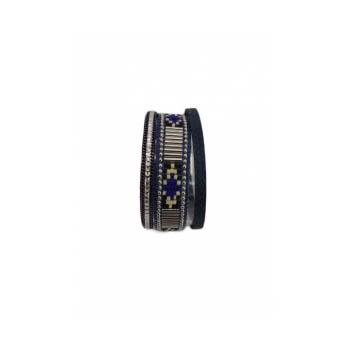 Bracelet manchette - Stella Green - 3 rangs - Perles Brésiliennes - Strass - Bleu marine