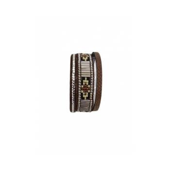 Bracelet manchette - Stella Green - 3 rangs - Perles Brésiliennes - Strass - Chocolat