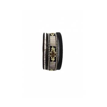Bracelet manchette - Stella Green - 3 rangs - Perles Brésiliennes - Strass - Noir