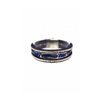 Bracelet manchette - Stella Green - 3 rangs - Pierre et strass - Bleu nuit