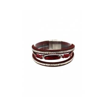 Bracelet manchette - Stella Green - 3 rangs - Pierre et strass - Bordeaux