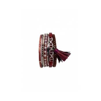 Bracelet manchette - Stella Green - 5 rangs - Chaînettes - Détails Python - Bordeaux