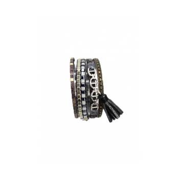 Bracelet manchette - Stella Green - 5 rangs - Chaînettes - Détails Python - Gris
