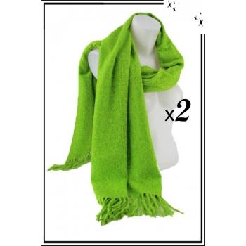 Echarpe à franges - Vert - x2