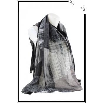 Foulard - Motif triangles et rayures - Bordure noire