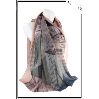 Foulard - Motif triangles et rayures - Bordure rose