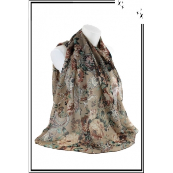Foulard - Motif esprit cachemire - Taupe