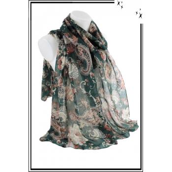 Foulard - Motif esprit cachemire - Vert
